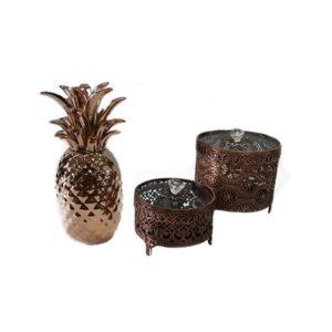 Abacaxi rosê em cerâmica e caixas em metal