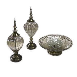 Peças-decorativas-em-vidro-ambar-e-detalhes-em-metal