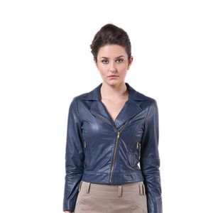 jaqueta de couro com zíper