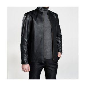 jaqueta de couro lisa
